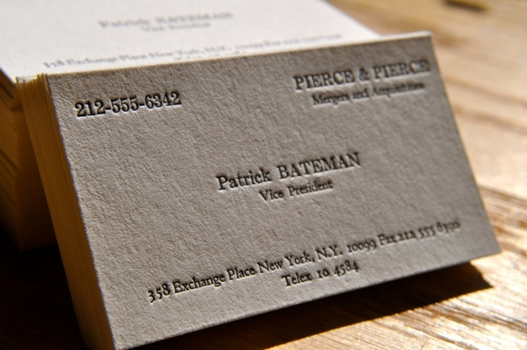 American Psycho, business card